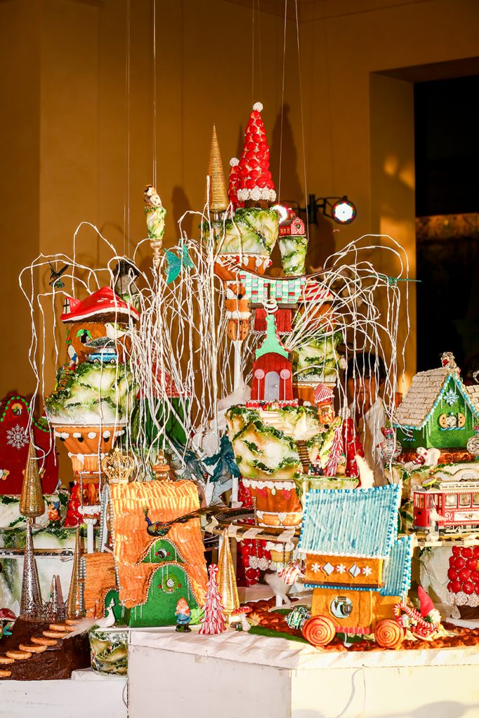 , Extravagant 8-foot Tall Gingerbread Village at Pelican Hill, Saubio Making Wealth
