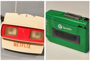 , A designer imagines what Netflix, Spotify, and other brands would have looked like in the 1980s, Saubio Making Wealth
